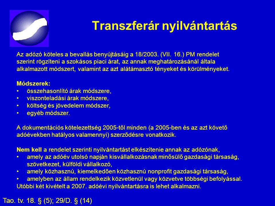 Transzferár nyilvántartás