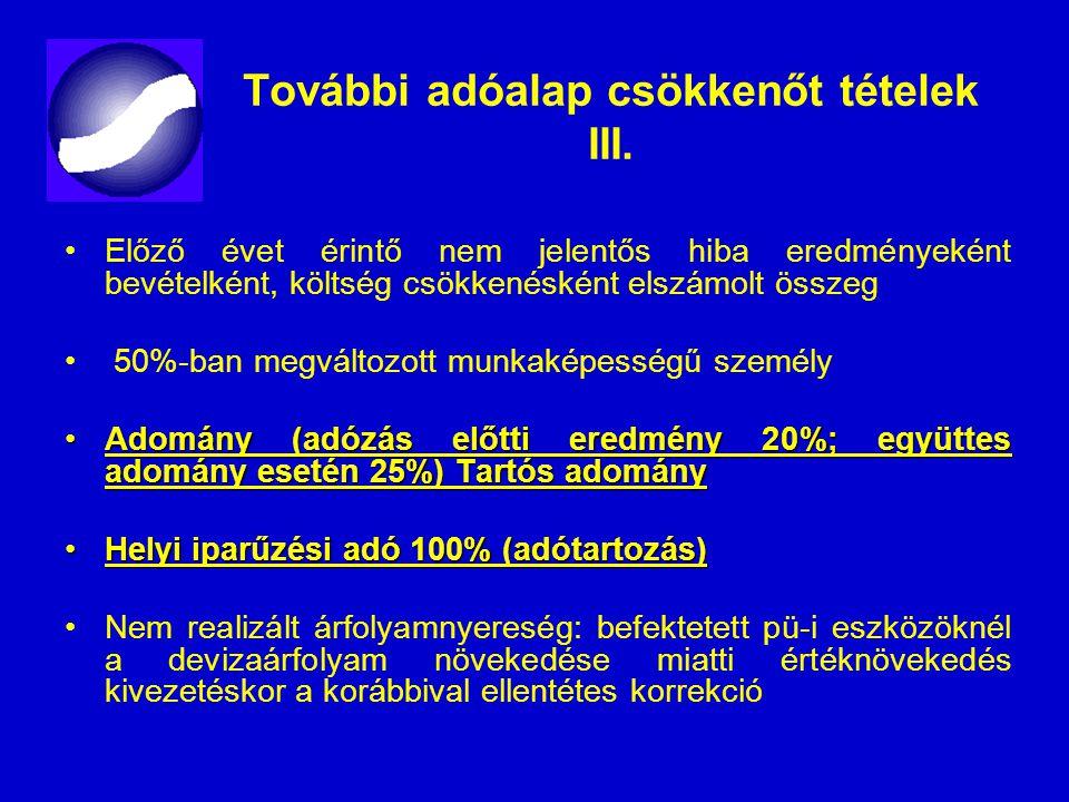 További adóalap csökkenőt tételek III.