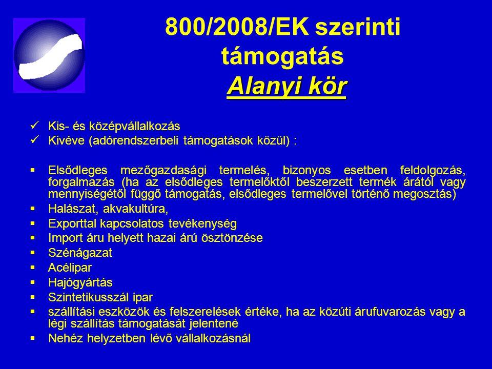 800/2008/EK szerinti támogatás Alanyi kör