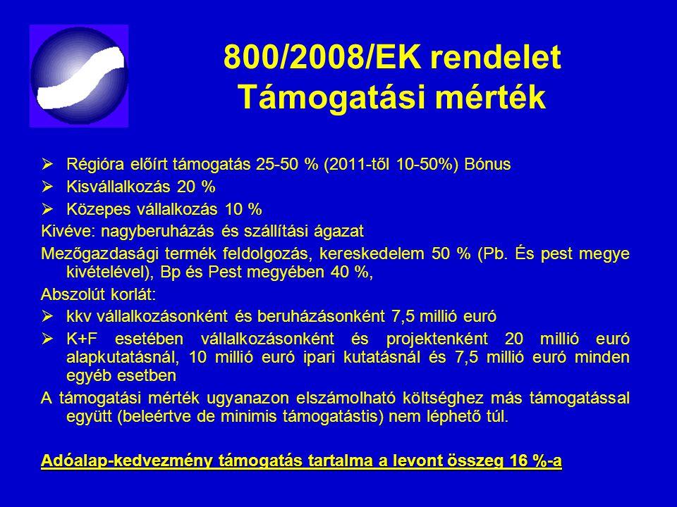 800/2008/EK rendelet Támogatási mérték