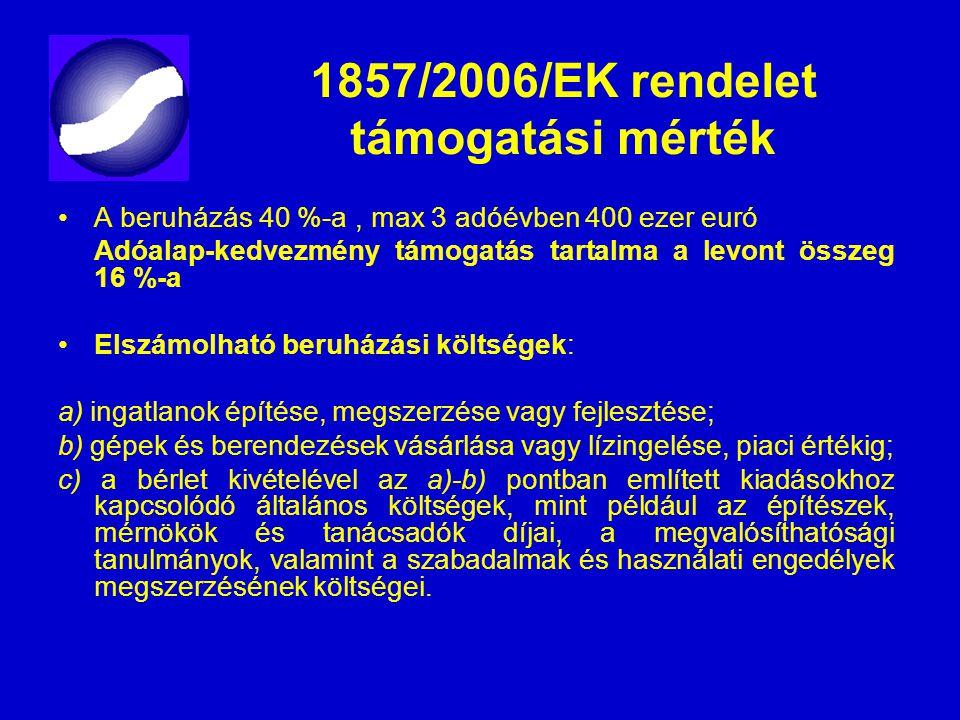 1857/2006/EK rendelet támogatási mérték