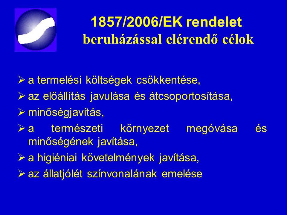 1857/2006/EK rendelet beruházással elérendő célok