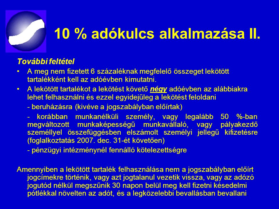 10 % adókulcs alkalmazása II.