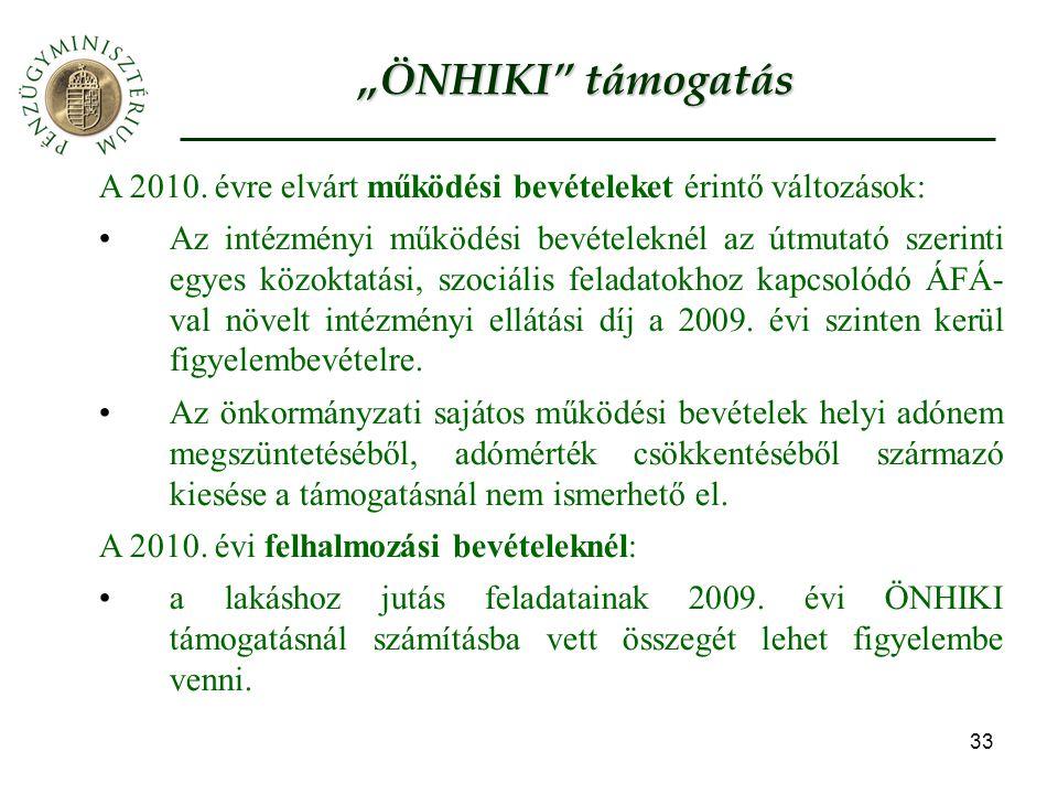 """""""ÖNHIKI támogatás A 2010. évre elvárt működési bevételeket érintő változások:"""