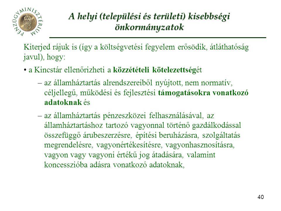 A helyi (települési és területi) kisebbségi önkormányzatok