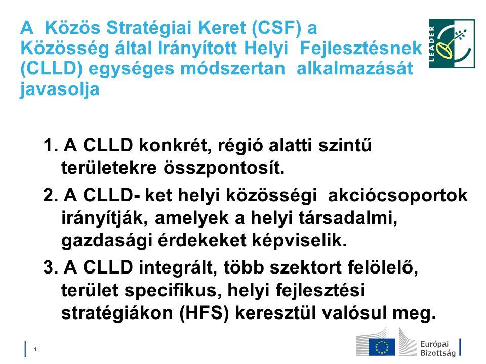 A Közös Stratégiai Keret (CSF) a Közösség által Irányított Helyi Fejlesztésnek (CLLD) egységes módszertan alkalmazását javasolja