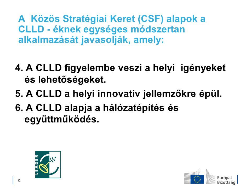 A Közös Stratégiai Keret (CSF) alapok a CLLD - éknek egységes módszertan alkalmazását javasolják, amely: