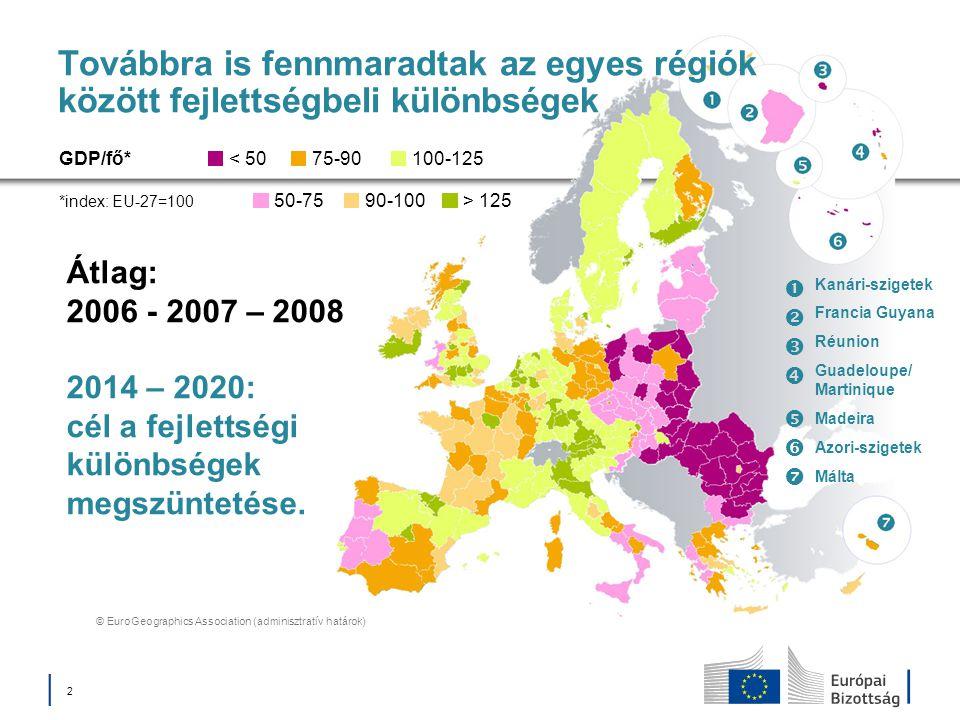 Továbbra is fennmaradtak az egyes régiók között fejlettségbeli különbségek