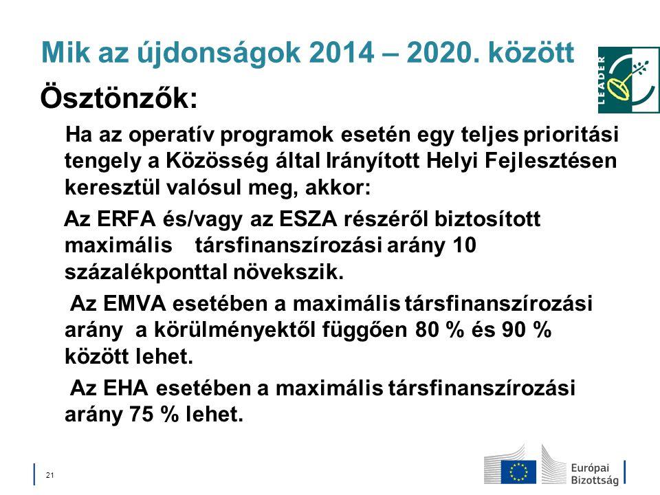Mik az újdonságok 2014 – 2020. között