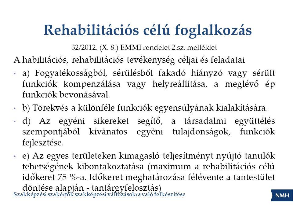 Rehabilitációs célú foglalkozás