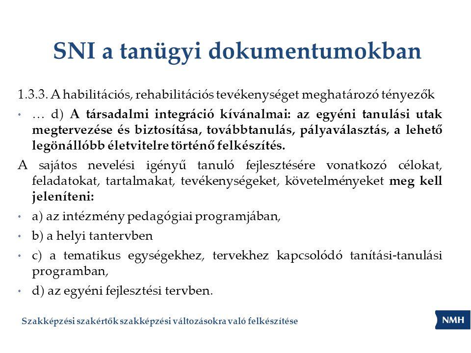 SNI a tanügyi dokumentumokban