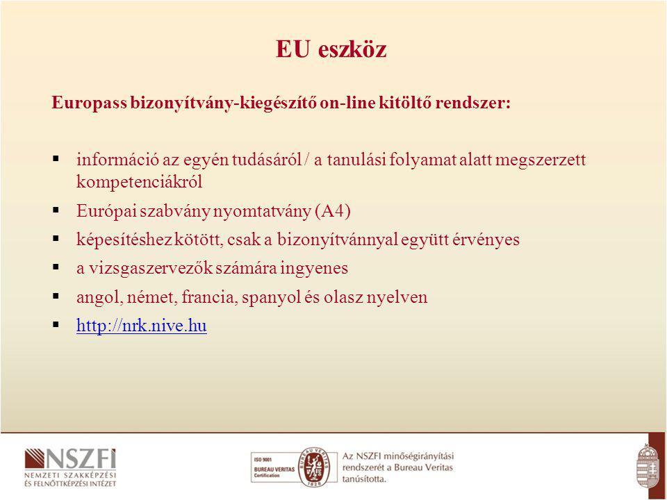 EU eszköz Europass bizonyítvány-kiegészítő on-line kitöltő rendszer: