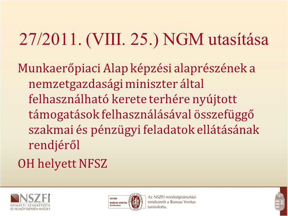 27/2011. (VIII. 25.) NGM utasítása