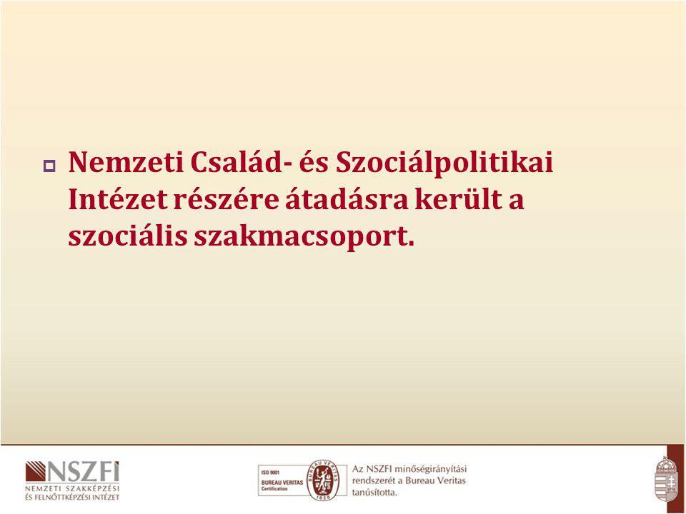 Nemzeti Család- és Szociálpolitikai Intézet részére átadásra került a szociális szakmacsoport.