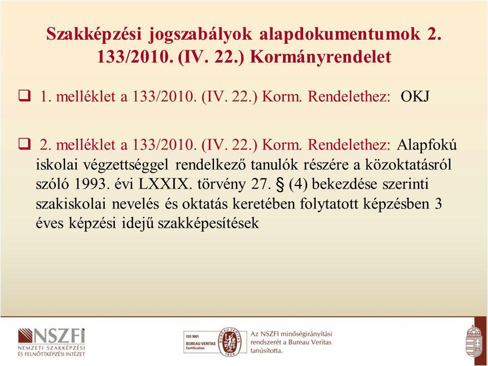 Szakképzési jogszabályok alapdokumentumok 2. 133/2010. (IV. 22