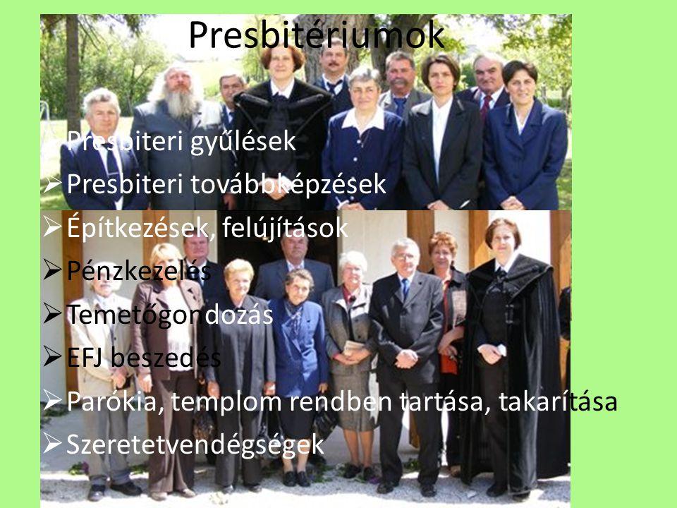 Presbitériumok Presbiteri gyűlések Presbiteri továbbképzések