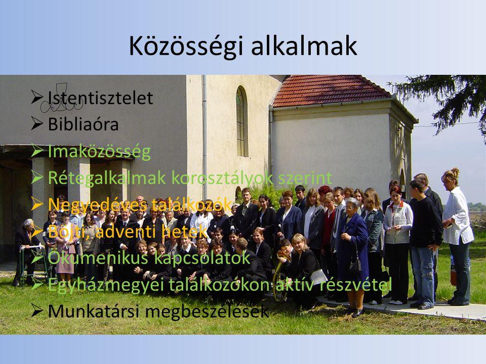 Közösségi alkalmak Istentisztelet Bibliaóra Imaközösség