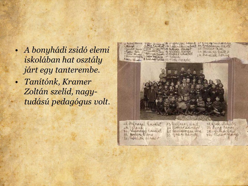 A bonyhádi zsidó elemi iskolában hat osztály járt egy tanterembe.