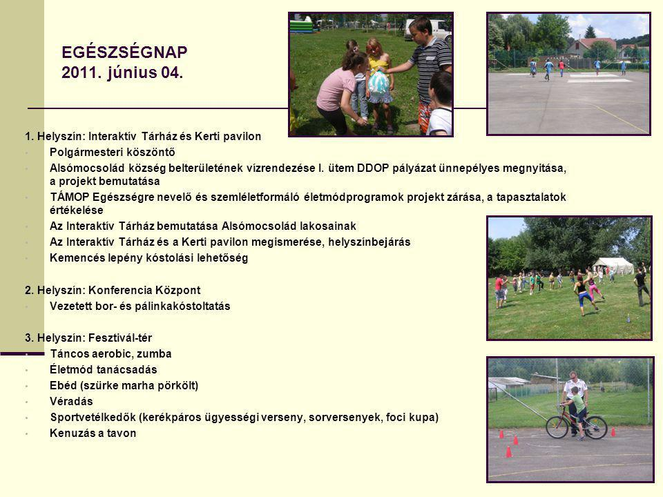 EGÉSZSÉGNAP 2011. június 04. 1. Helyszín: Interaktív Tárház és Kerti pavilon. Polgármesteri köszöntő.