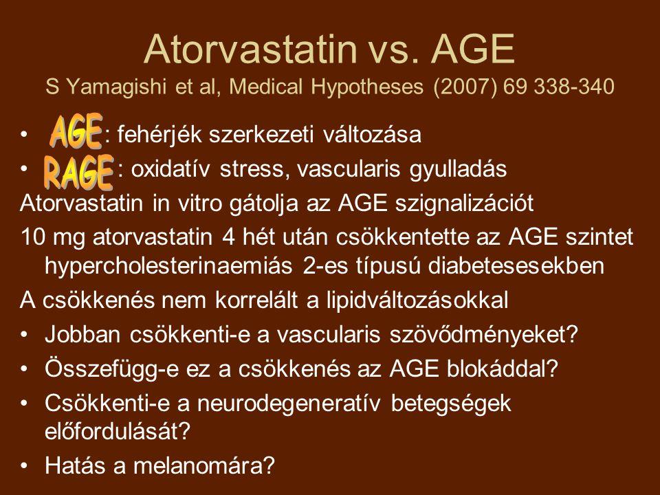 Atorvastatin vs. AGE S Yamagishi et al, Medical Hypotheses (2007) 69 338-340