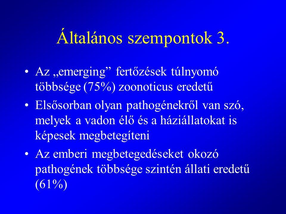"""Általános szempontok 3. Az """"emerging fertőzések túlnyomó többsége (75%) zoonoticus eredetű."""