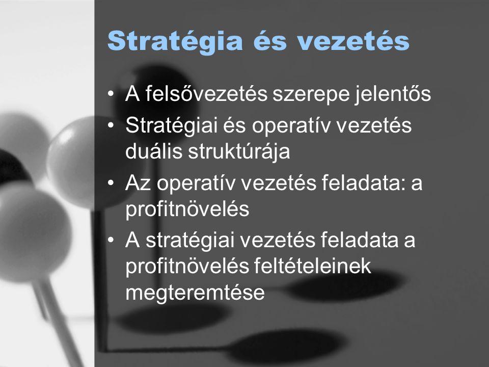 Stratégia és vezetés A felsővezetés szerepe jelentős