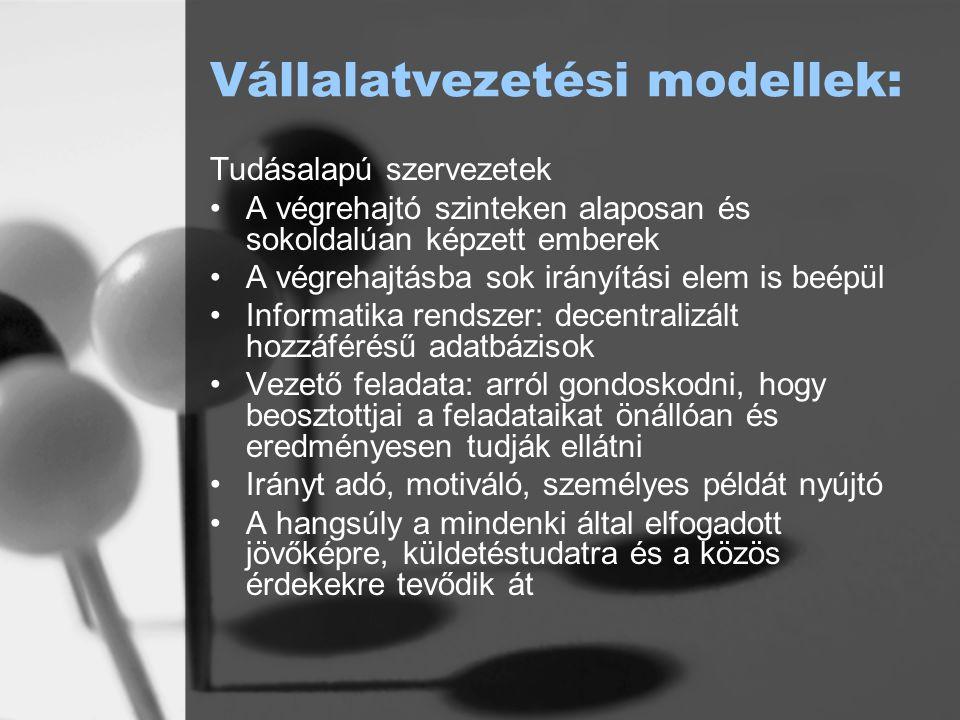 Vállalatvezetési modellek: