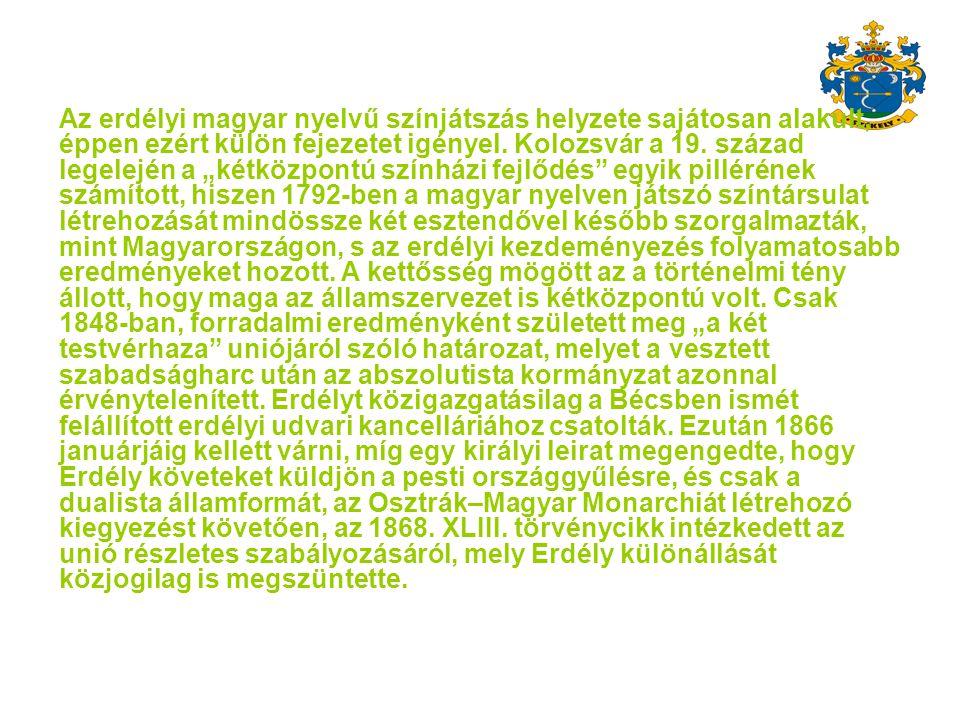 Az erdélyi magyar nyelvű színjátszás helyzete sajátosan alakult, éppen ezért külön fejezetet igényel.