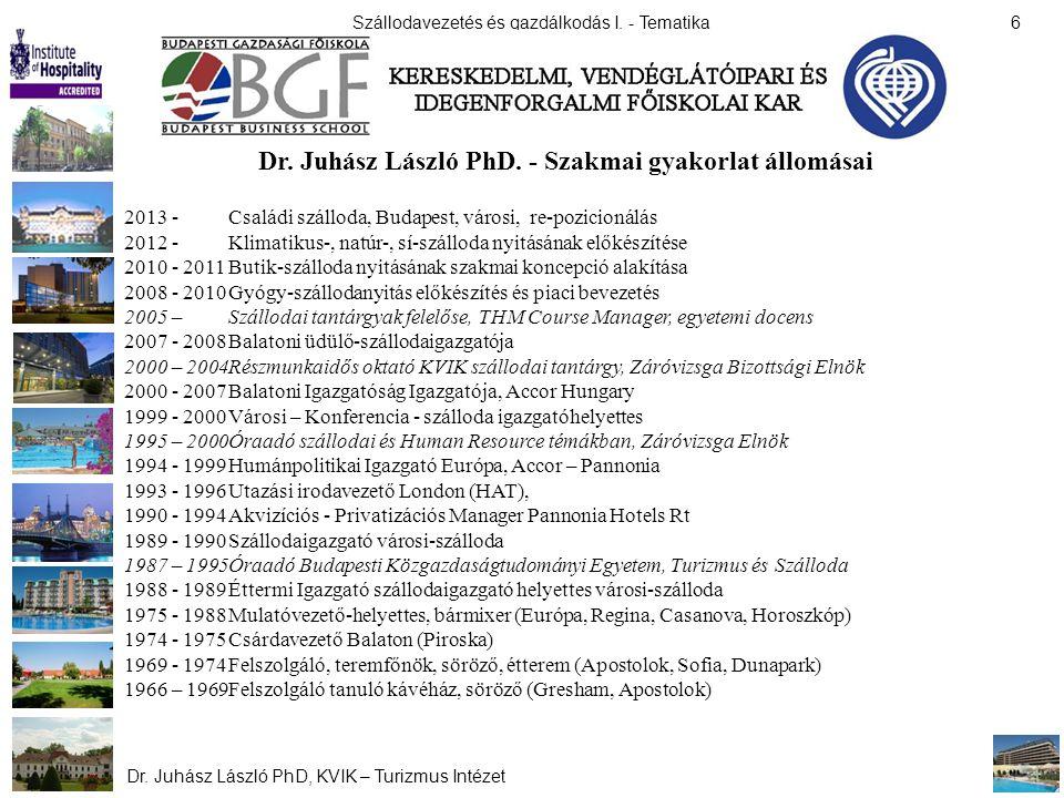 Dr. Juhász László PhD. - Szakmai gyakorlat állomásai