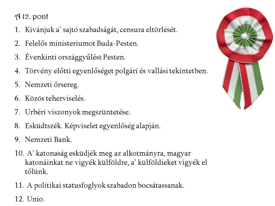 A 12. pont Kivánjuk a' sajtó szabadságát, censura eltörlését. Felelős ministeriumot Buda-Pesten. Évenkinti országgyűlést Pesten.