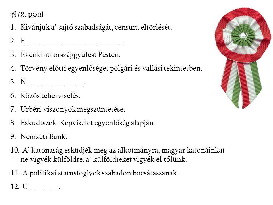 A 12. pont Kivánjuk a' sajtó szabadságát, censura eltörlését. F__________________________. Évenkinti országgyűlést Pesten.