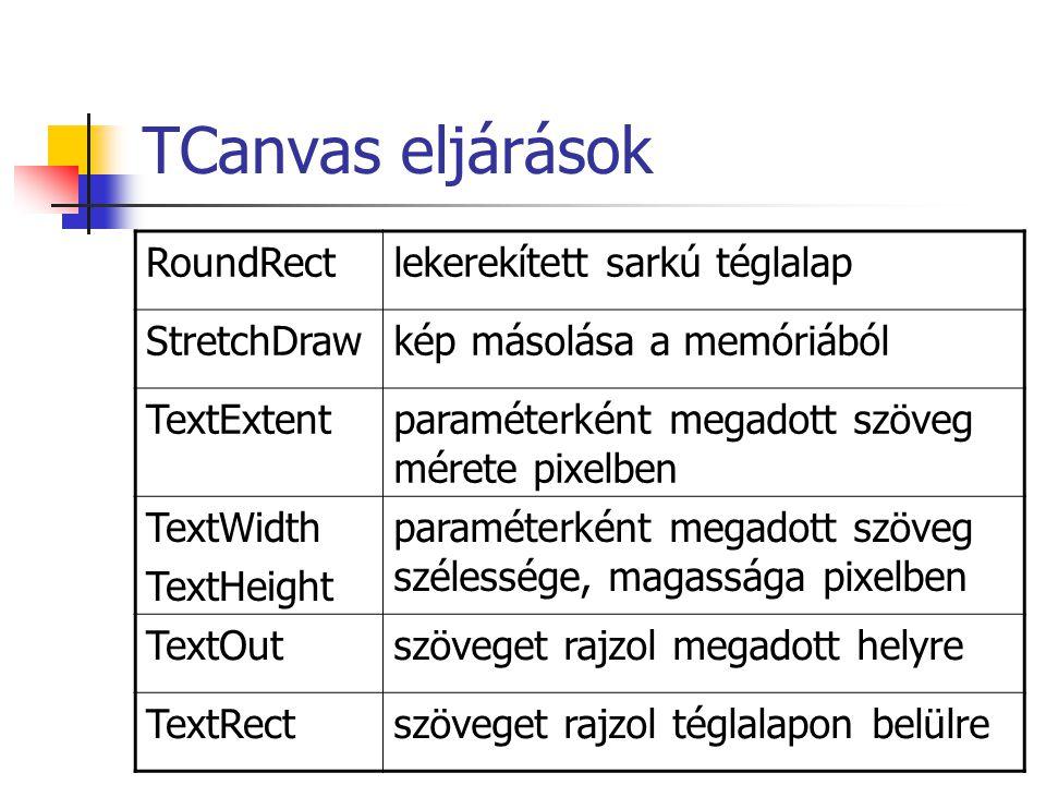 TCanvas eljárások RoundRect lekerekített sarkú téglalap StretchDraw