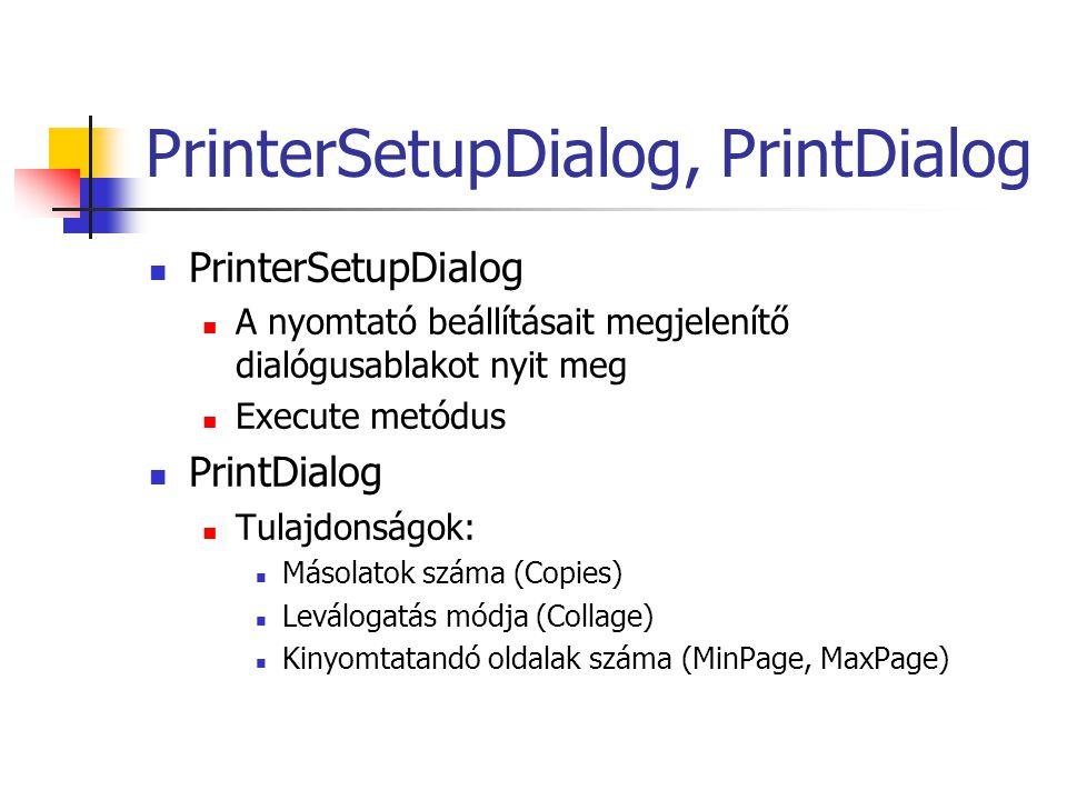 PrinterSetupDialog, PrintDialog