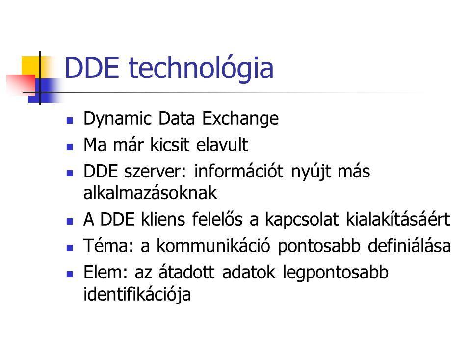 DDE technológia Dynamic Data Exchange Ma már kicsit elavult