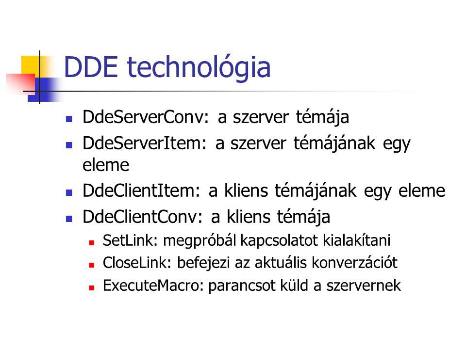 DDE technológia DdeServerConv: a szerver témája