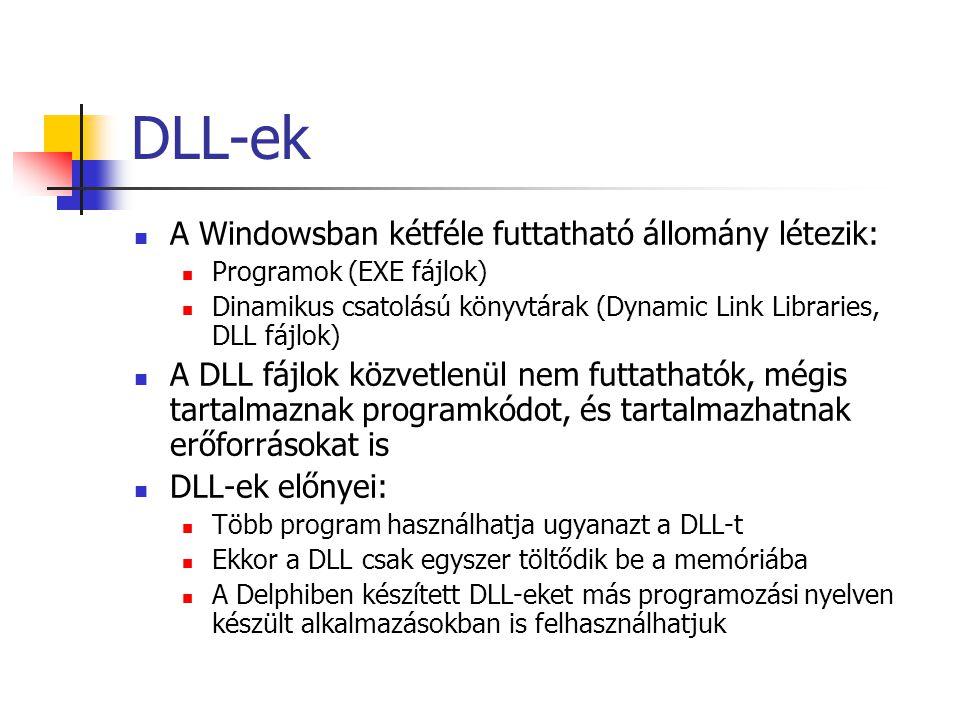 DLL-ek A Windowsban kétféle futtatható állomány létezik: