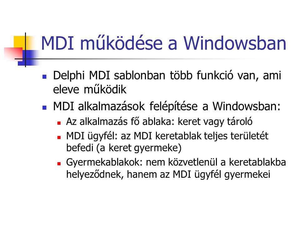 MDI működése a Windowsban