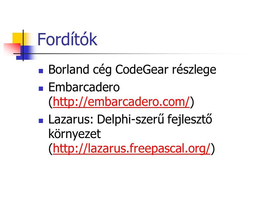 Fordítók Borland cég CodeGear részlege