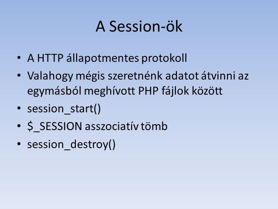 A Session-ök A HTTP állapotmentes protokoll