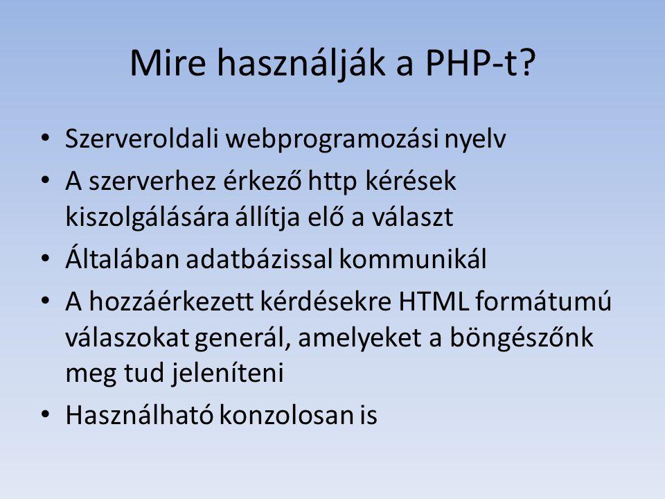 Mire használják a PHP-t