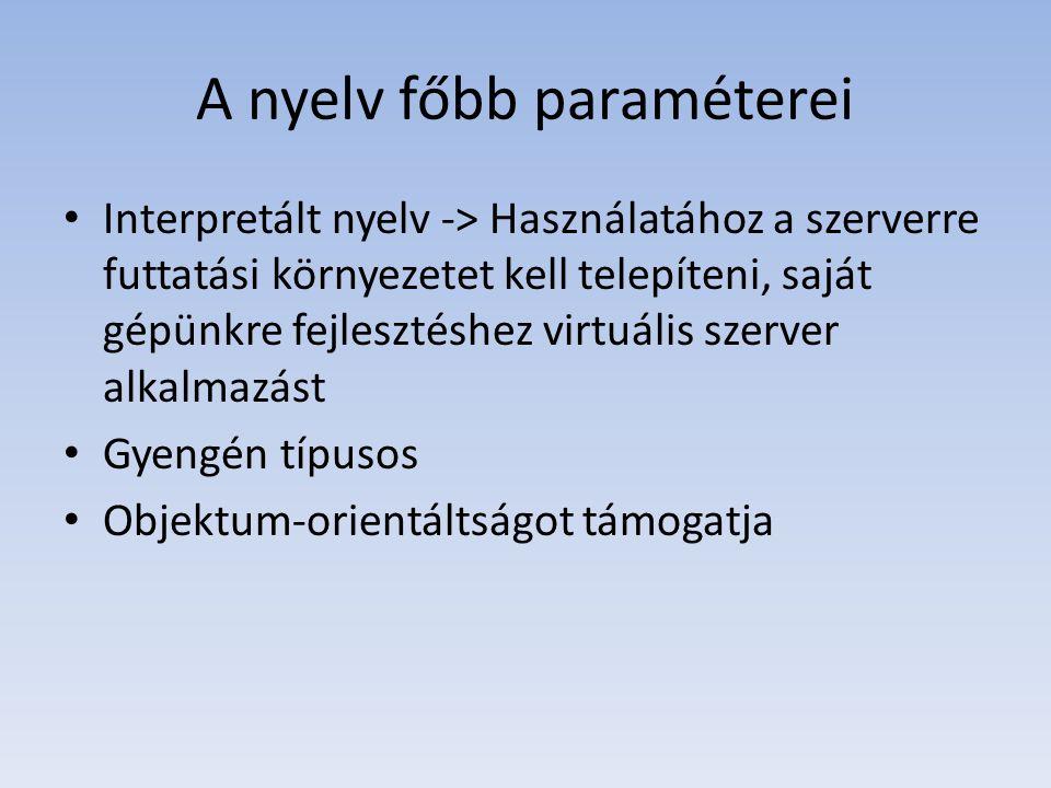 A nyelv főbb paraméterei
