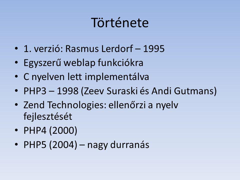 Története 1. verzió: Rasmus Lerdorf – 1995 Egyszerű weblap funkciókra