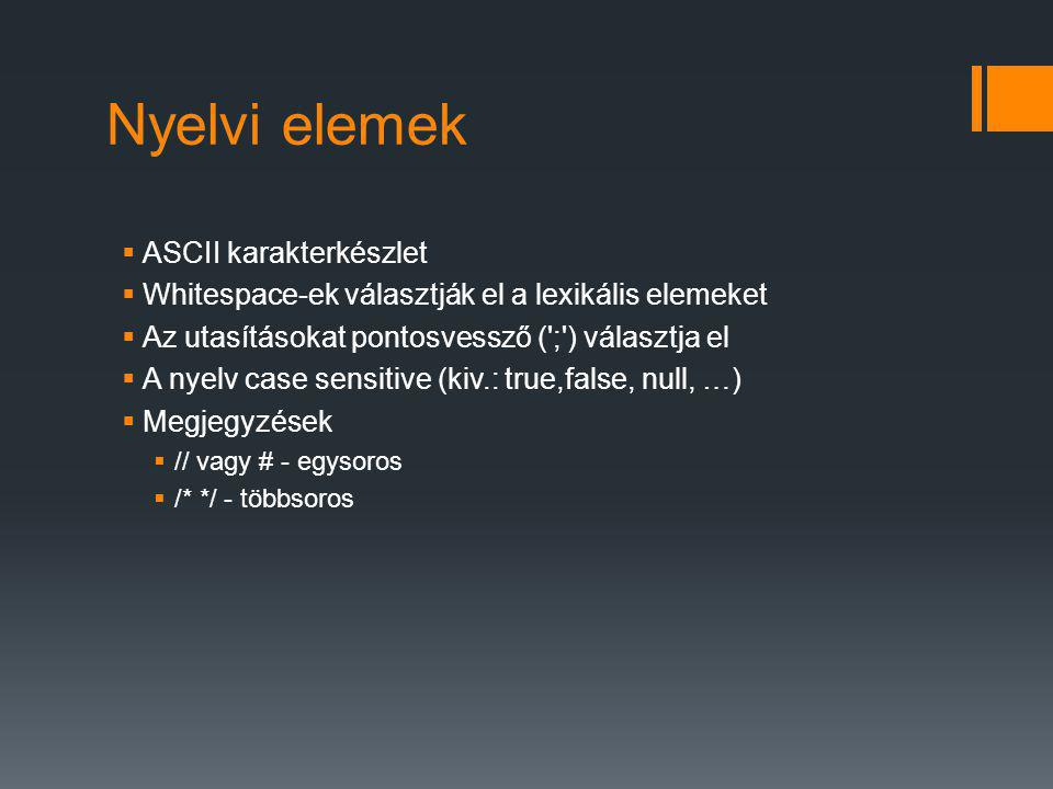 Nyelvi elemek ASCII karakterkészlet