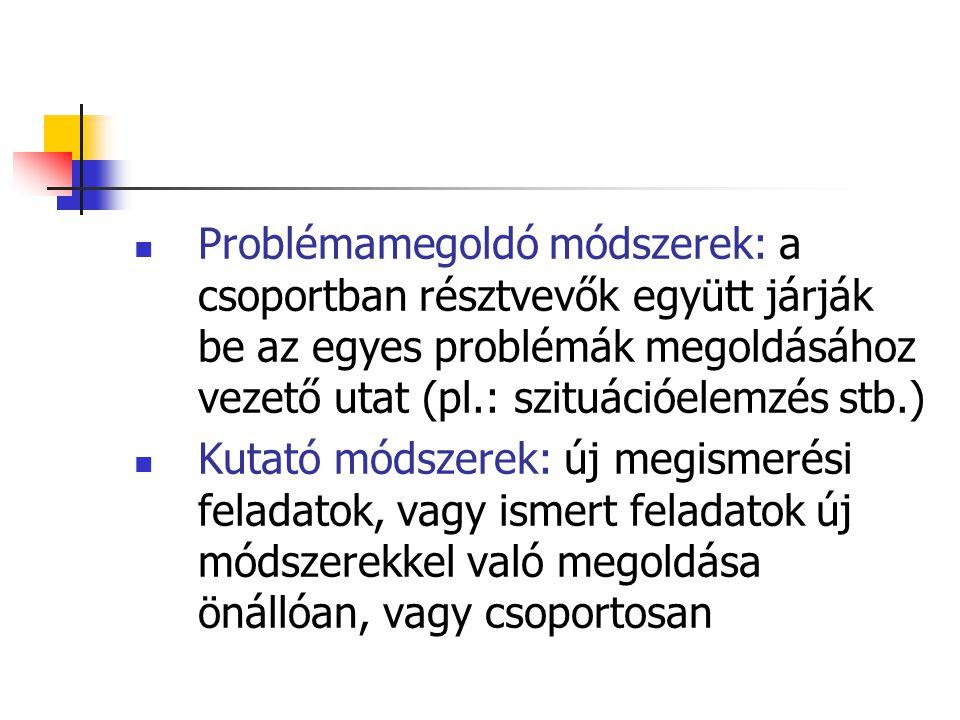 Problémamegoldó módszerek: a csoportban résztvevők együtt járják be az egyes problémák megoldásához vezető utat (pl.: szituációelemzés stb.)