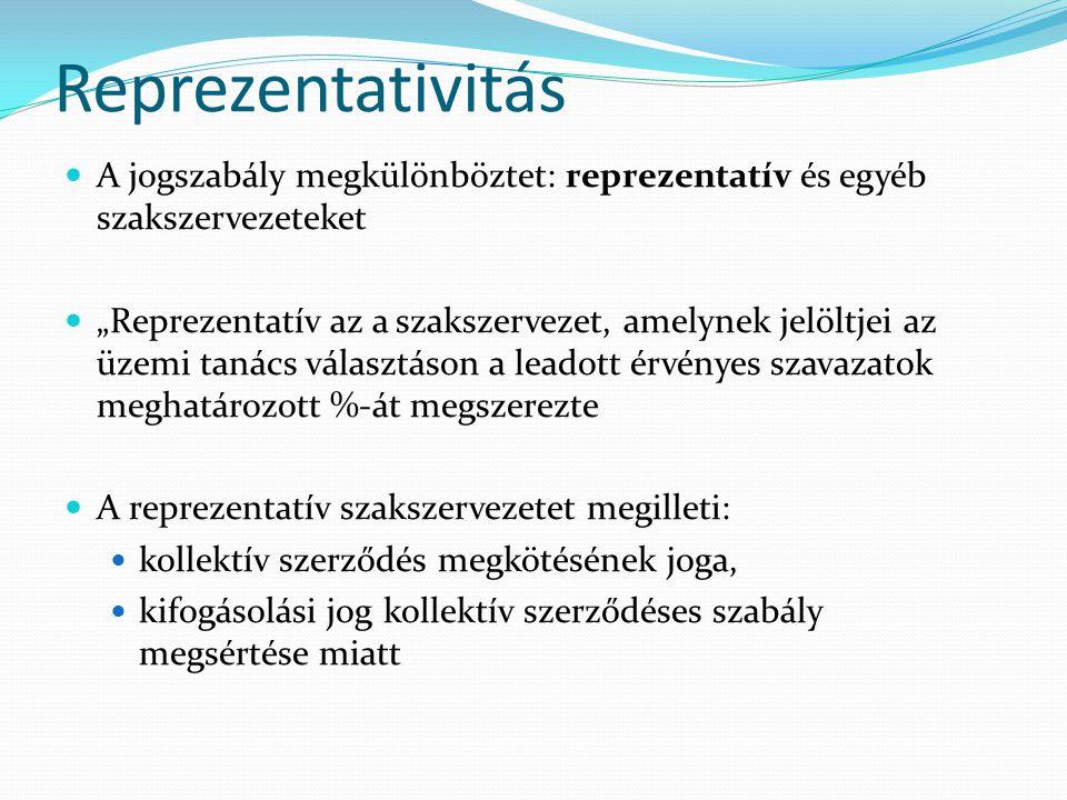 Reprezentativitás A jogszabály megkülönböztet: reprezentatív és egyéb szakszervezeteket.