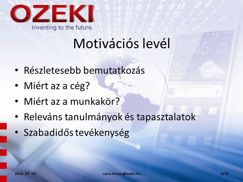 Motivációs levél Részletesebb bemutatkozás Miért az a cég
