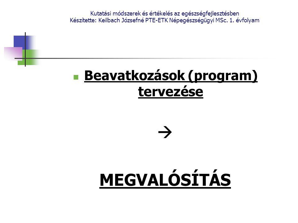 Beavatkozások (program) tervezése