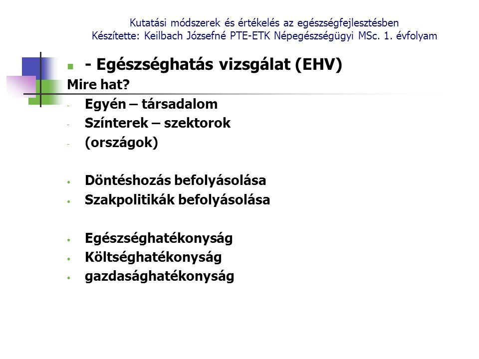 - Egészséghatás vizsgálat (EHV)