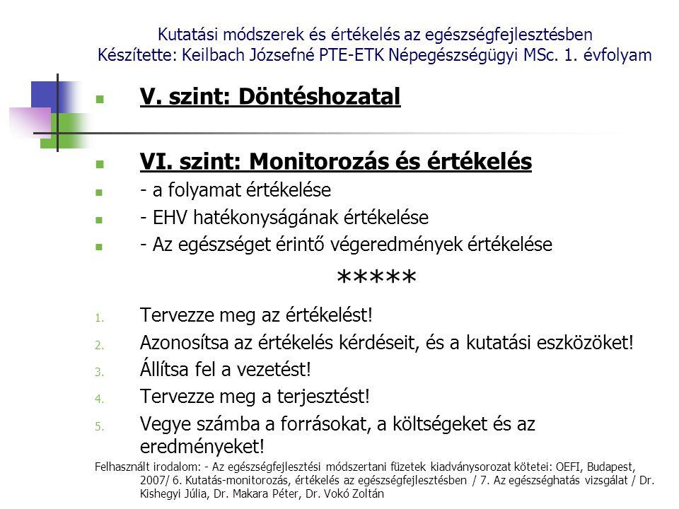 ***** V. szint: Döntéshozatal VI. szint: Monitorozás és értékelés