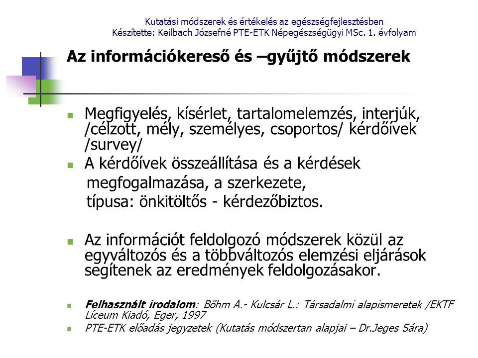 Az információkereső és –gyűjtő módszerek